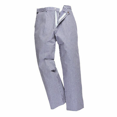 £10.95 • Buy Portwest Men Greenwich Chefs Work Kitchen Trousers Blue / White Check S884