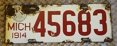 $ CDN135.76 • Buy NO SALES TAX 1914 Michigan Porcelain Passenger License Plate  Number 45683