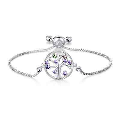 Silver Chakra Tree Of Life Bracelet Created With Swarovski® Crystals • 9.95£
