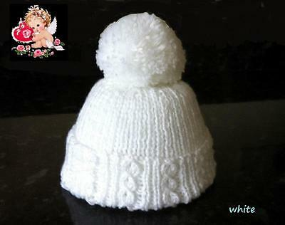 Hand Knitted Baby Clothes Newborn Pure White Pompom Hat • 5.99£