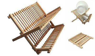Beech Wood Foldable Kitchen  Dish Drainer Folding Wooden Plate Cups Drying Rack • 12.99£