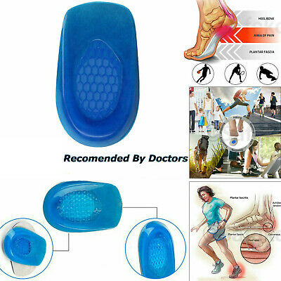 Gel Silicone Heel Support Orthotic Plantar Care Insert Insoles Cushion Shoe Pads • 2.85£
