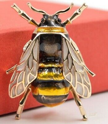 £3.79 • Buy VERY REALISTIC BUMBLE BEE BROOCH INSECT BLACK GOLD LAPEL PIN BROACH V UK SELLER