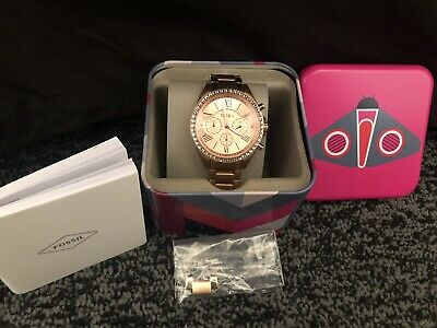 View Details Worn Once! Fossil Womens Rose Gold Watch With Diamante Detailing • 30.00£