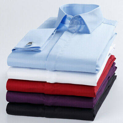 Mens Dress Shirts French Cuff Formal Business Button Long Sleeves Casual Shirts • 21.95£