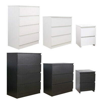 Modern Bedside Table Cabinet Chest Of Drawers Nightstand 2/3/4 Drawers Bedroom • 31.99£