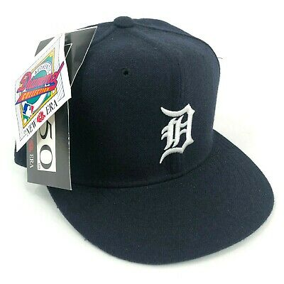 cheap for discount c0ce4 ba8db Vintage Detroit Tigers New Era Pro Model Fitted Hat Cap Navy Blue White  Logo NOS •