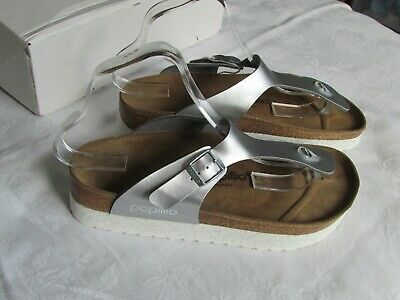 NEW Papillio Ladies Silver Platform Toe Post Mules Sandals UK Size 7 EU 40 • 64.99£