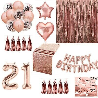 £3.99 • Buy Rose Gold Happy Birthday Bunting Banner Balloons Tinsel Curtain DECORATIONS