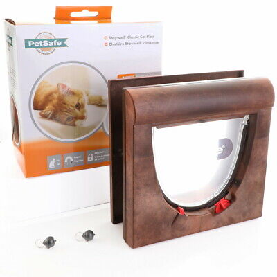 PetSafe Staywell 34 Brown Magnetic Cat Flap Door 934 & Inc Two Key 4 Way Locking • 24.99£