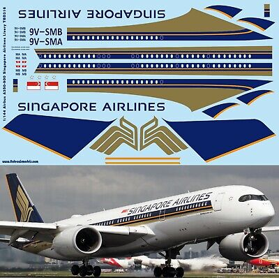 1/144 Airbus A350 900 Singapore Airlines Decals For Revell Kit  Tb Decal Tbd316 • 14£