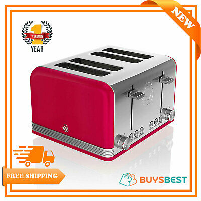 £49.99 • Buy Swan Retro Stainless Steel 4 Slice Toaster 1600 W In Red - ST19020RN