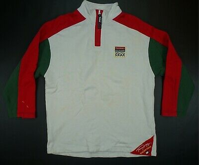 39578fba Rare VTG TOMMY HILFIGER Sailing Gear Spell Out 1/4 Zip Pullover Sweatshirt  90s L