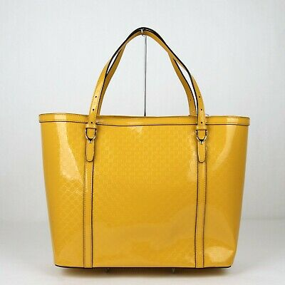 ac00964afa6a94 Gucci NICE Yellow Micro Guccissima Patent Leather Tote Shopper 309613 7011  • 789.99$