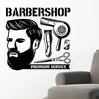 $ CDN44.44 • Buy Barber Shop Wall Sticker Hipster Beard Graphics Quote Decal Art Bb33