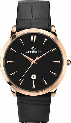 £34.99 • Buy Accurist Gents Watch With Black Dial And Black Leather Strap 7029