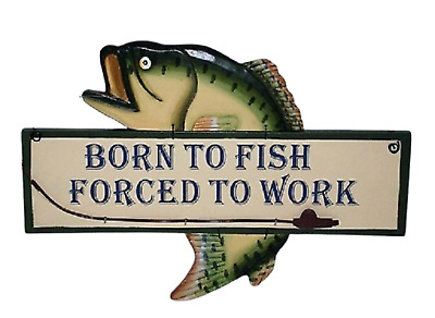 £9.98 • Buy Retro Wall Plaque Born To Fish Forced To Work Wooden Fish Shaped Sign SG1029