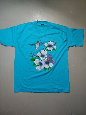 $ CDN15 • Buy Vintage Single Stitch 50/50 Best Hummingbird And Flowers Butterfly T-shirt XL