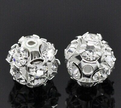 6/8/10 MM Rhinestone Crystal  Silver Plated Round Ball Spacer Beads  Clear • 3.49£