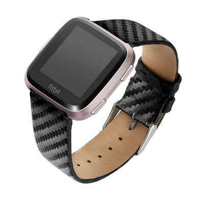 $ CDN17.17 • Buy Carbon Fiber Genuine Leather Watch Band Strap Men Plaids For Fitbit Versa Lite 2