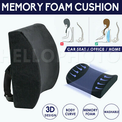 AU18.96 • Buy Memory Foam Lumbar Back Pillow Support Back Cushion Home Office Car Seat Chair
