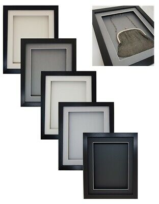 3D Box Black RECTANGLE Picture Photo Kids Art Medals Scrabble Lego Display Frame • 16.99£