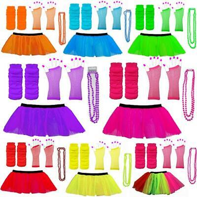 Neon Uv Tutu Set Gloves Leg Warmers & Beads 1980s Fancy Dress Hen Party Costume • 6.99£
