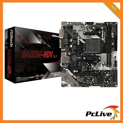 AU119.90 • Buy NEW ASRock B450M-HDV R4.0 Motherboard HDMI DVI VGA AMD AM4 USB 3.1 M.2 Micro ATX