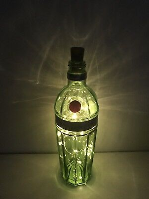 Tanqueray 10 Gin Glass Bottle 70cl, Upcycled Lamp/Light 20 Micro LED Lights • 12.99£