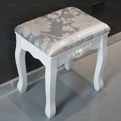 Dressing Table Stool Vintage Soft Cushioned Seat Makeup Bench Piano Chair White • 26.99£