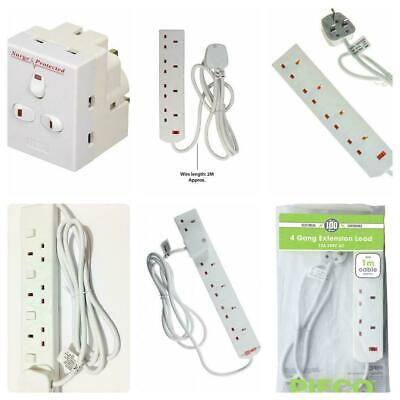 Pifco 2 4 6 Gang Extension Lead 1m 2m 5m SWITCHED Surge Cable Socket Mains Plug • 11.99£