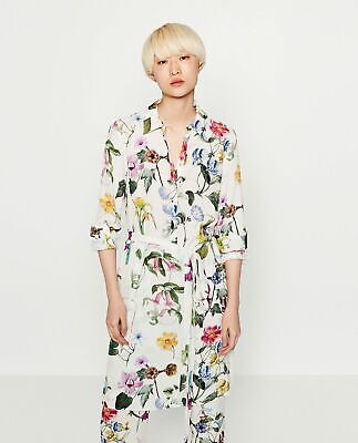 $49.99 • Buy ZARA Floral Printed Tunic Buttoned Shirt Dress With Belt Off White 4043/070 S
