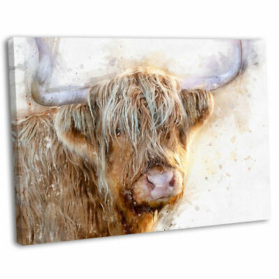 £29.99 • Buy Highland Cow Canvas Print Framed Watercolour Style Wall Art Picture 76x51cm .2