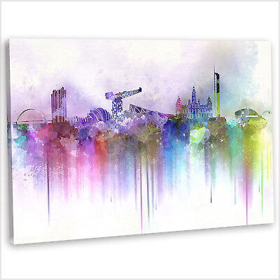 £25.99 • Buy Glasgow Skyline Canvas Print Abstract Watercolour Framed Wall Art Picture .2