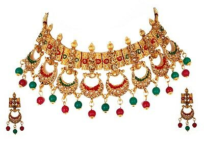 Indian Bollywood Gold Plated Multi-Color Chokar Bridal Party Fashion Jewelry Set • 22.80$