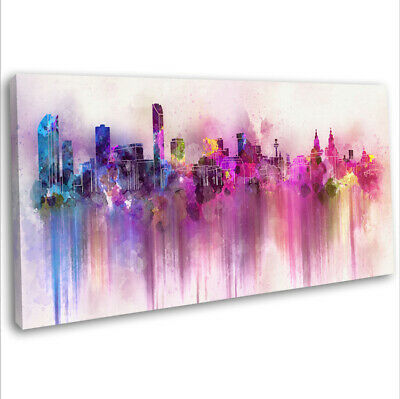 £29.99 • Buy Liverpool Skyline Canvas Print Panoramic Abstract Framed Wall Art 91x40cm ~5