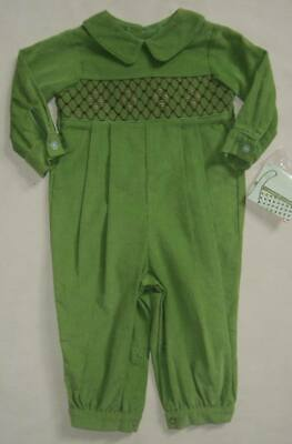 $24.50 • Buy NWT Boys ZUCCINI Green Corduroy Pleated Smocked Longall 6m Collared Bubble $70