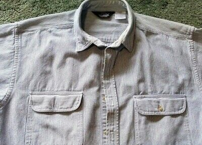 ee6bb52b4f Vintage Woolrich Hickory Striped Denim Work Shirt Mens X-Large XL • 12.00$