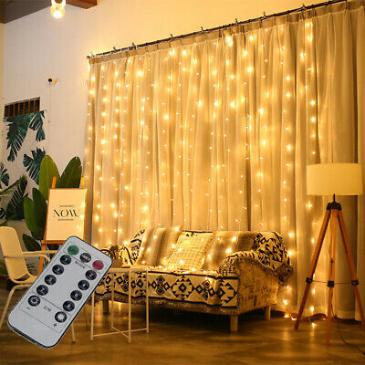 300 LED Fairy String Lights In/Outdoor Curtain Window Wedding Decor + Controller • 8.24£