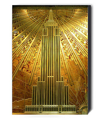 £59.99 • Buy Empire State Building Art Deco Gold Canvas Wall Art Framed Print - Various Sizes
