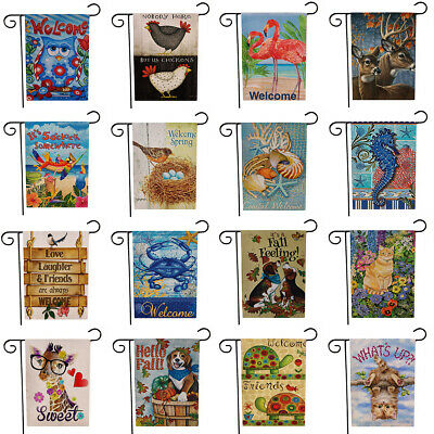 $3.96 • Buy Animal Dog Cute Cat Garden Flag Double Sided House Yard Lawn Welcome Decorations