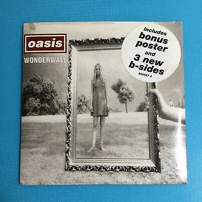 OASIS - Wonderwall - Ultra Rare CD Disc In Sleeve With Poster - Creation 1995 • 19.95£