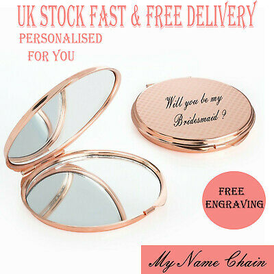£5.99 • Buy Personalised Rose Gold Folding Mirror Circle Travel Portable Compact Pocket Gift