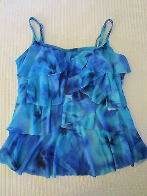 725374b372 Miraclesuit Womens Size 10 Swimsuit Top Only Tankini Tiered Blue Tie Dye •  7.99$