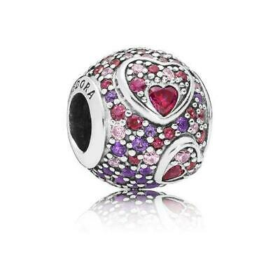 88f11821a New Authentic Pandora Asymmetric Hearts Of Love Charm, Red & Pink CZ  797826CZRMX • 10.00
