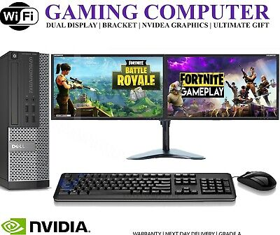 ULTRA FAST Gaming PC Bundle Intel Core I7 8GB 1TB Windows 10 GT710 DUAL SCREEN • 369.99£
