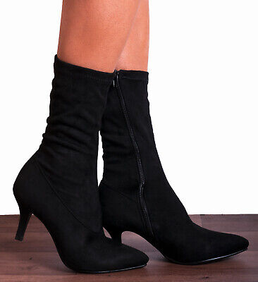 Black Sock Stretch Kitten Heeled Ankle Boots High Heels Shoes Size 3 4 5 6 7 8 • 21.95£