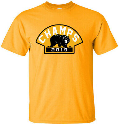 GOLD Boston Bruins 2019 Stanley Cup Champions Champs  BEAR LOGO  T-Shirt • 10.71£