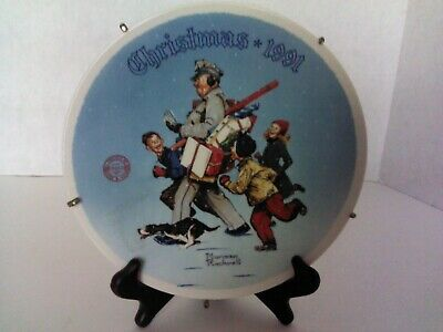 "$ CDN13.33 • Buy Norman Rockwell 1991 Christmas  Santa's Helper"" Collector China Plate # 4915D"