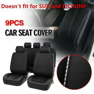 $44.88 • Buy Black Breathable PU Leather Car Seat Cover Full Seat Protector Set Front & Rear